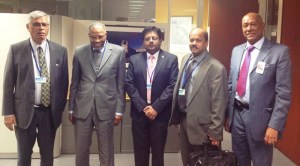 From left to right: Ministry of Finance's Chief Planning Officer, Clyde Roopchand; President of the Islamic Development Bank, Dr. Ahmed Mohammed Ali Al Madani; Minister Dr. Ashni Singh, Acting Governor of the Bank of Guyana Dr. Gobin Ganga and Guyana Ambassador to the United States, Bayney Karran.