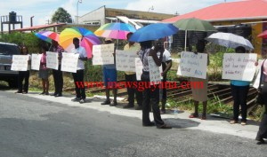 NGO members during the protest.