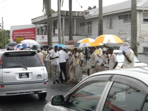 The protest outside the GGMC's Brickdam Office. [iNews' Photo]