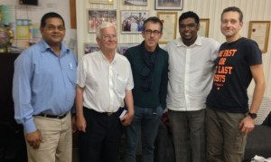 Minister of Tourism, Irfaan Ali , members of the French Filming Crew and the Director of the Guyana Tourism Authority, Mr. Indranauth Haralsingh (left) during the courtesy visit.