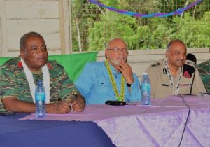 President Donald Ramotar, Police Commissioner (ag), Selall Persaud and Chief-of-Staff of the Guyana Defence Force, Brigadier Mark Phillips at the meeting with Kaikan residents. [GINA Photo]