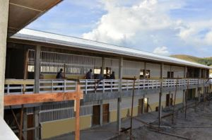 A section of the Kato Secondary School which is under construction in Region Eight. [GINA Photo]