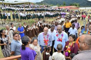 President Donald Ramotar and other officials at the new  Paramakatoi Primary School, Region Eight. [GINA Photo]