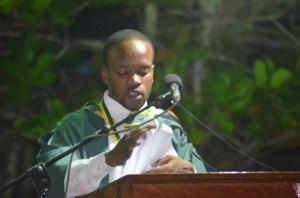 University of Guyana Valedictorian, Joel Joseph addressing fellow graduates