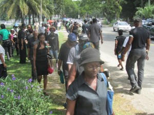APNU Protestors outside the Office of the President today, Tuesday December 09, 2014. [iNews' Photo]