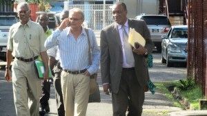 From L - R: Opposition Leader, David Granger; APNU's Chairman Dr. Rupert Roopnarine and APNU General Secretary Joseph Harmon following the meeting with GECOM. [iNews' Photo]
