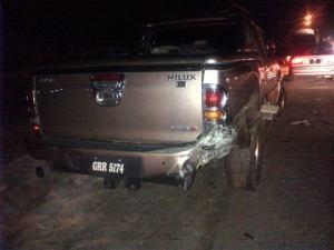 The damaged Hilux vehicle. [iNews' Photo]