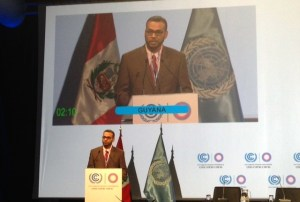 Minister Persaud during his address at the Opening Day of the United Nations Climate Change Conference, in Lima, Peru