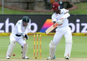 Kraigg Brathwaite and Marlon Samuels added 176 for the third wicket before rain stopped play for good.