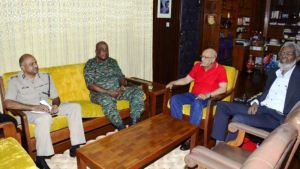 President Donald Ramotar in meeting with Army Chief, Brigadier Mark Phillips and Police Commissioner (ag), Seelall Persaud. Dr  Roger Luncheon is also in the photo.