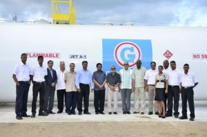 President Donald Ramotar, Minister of Finance, Dr Ashni Singh, Minister of Public Works, Robeson Benn, GUYOIL's Chairman, Dr. K. Mangal and Managing Director Badrie Persaud and other staff at the commissioning of the Guyana Oil Company Limited's Aviation Services Fuel Handling facility at the Cheddi Jagan International Airport