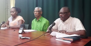 L - R: APNU Parliamentarian, Annette Ferguson; Leader David Granger and Parliamentarian, Winston Felix. [iNews' Photo]