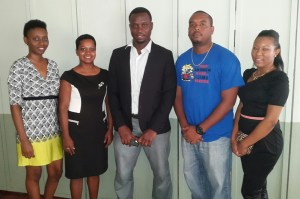 Junior Hercules (centre) along with his new Executive Board. [iNews' Photo]