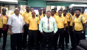 GCB President Drubahadur (centre) with members of the team at CJIA on Monday morning.