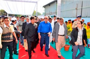 President Donald Ramotar arriving for his tour of the Valsad sugar factory.