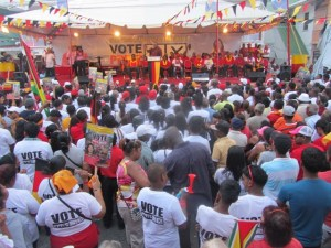 Former President, Bharrat Jagdeo addressing supporters at Kitty, Georgetown. [iNews' Photo]