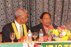 Presidential and Prime Ministerial Candidate for the APNU+AFC Coalition, David Granger and Moses Nagamootoo. [News Source Photo]