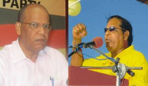 General Secretary of the PPP, Clement Rohee and APNU+AFC Presidential Candidate, Moses Nagamootoo