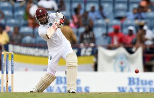 Marlon Samuels goes on the attack during his patient knock.