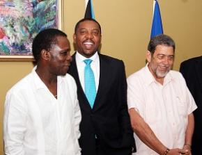 WICB president Dave Cameron is flanked by Grenada's Prime Minister Dr Keith Mitchell (left) and St Vincent's Prime Minister Dr Ralph Gonsalves.