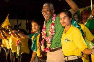 Presidential Candidate, David Granger and some supporters.