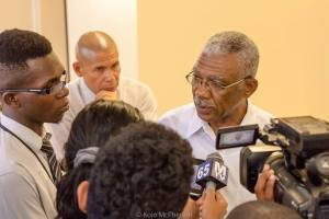 APNU+AFC  Presidential Candidate, David Granger speaking to reporters