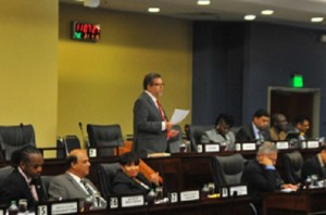 Minister of Transport Stephen Cadiz makes his contribution on the Motor Vehicle Bill at yesterday's sitting of the Senate, Tower D, International Waterfront Centre, Port of Spain.