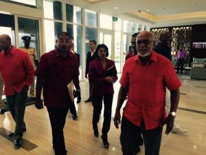 Incumbent President, Donald Ramotar arrives for the launching of the Manifesto.
