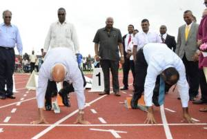 President Donald Ramotar and Sport Minister Frank Anthony testing the field