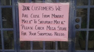 The sign on one of the stores in Georgetown. [iNews' Photo]