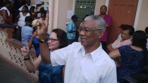 Brigadier David Granger and his wife Sandra Granger shortly after casting their ballots