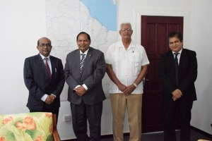 Indian High Commissioner to Guyana, Venkatachalam Mahalingam; Prime Minister of Guyana Moses Nagamootoo, Minister of Agriculture Noel Holder, and an officer of the Indian High Commission to Guyana.