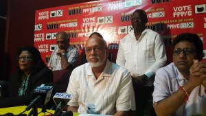 Former President, Donald Ramotar flanked by Party members.  [iNews' Photo]