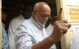Incumbent President Donald Ramotar after casting his ballot. [iNews' Photo]