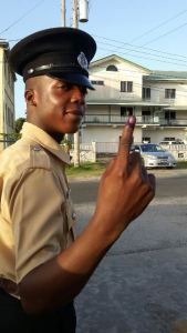 A member of the Force after voting. [iNews' photo]