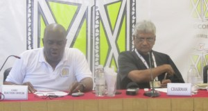 Keith Lowenfield, Chief Election Officer and Chairman of GECOM, Dr Steve Surujbally