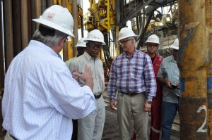 President David A. Granger, being briefed on the operations of ExxonMobil's oil rig, the Deepwater Champion