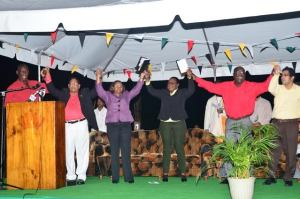 GTUC President Lincoln Lewis,  Prime Minister Moses Nagamootoo, Minister of Social Protection Volda Lawrence, Minister within the Ministry of Social Protection Simona Broomes, FITUG President Carvil Duncan and GAWU's Deputy Ashin Singh