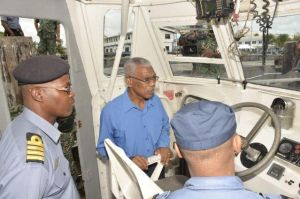 President David Granger being briefed on some of the daily operations of the Coast Guard while onboard of one of the Unit's patrol vessel