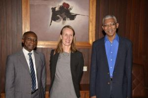 President David Granger, Minister of Foreign Affairs Carl Greenidge and Canadian High Commissioner to Guyana, Dr Nicole Giles at the Ministry of the Presidency