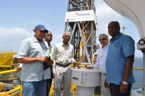 President David Granger during his visit to the ExxonMobil's rig.
