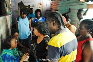 Minister Lawrence lends a listening ear to residents who turned out to air their concerns.