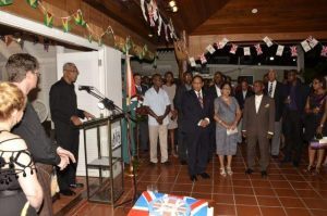 President David Granger addressing guests at the celebration to mark the 89th birthday of Queen Elizabeth 11 at the British High  Commissioner's residence