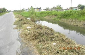 A canal partially cleaned by the residents in B Field Sophia.