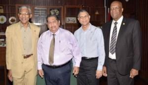 President David Granger, Executive President of RUDISA, Rudi Sardjoe, Managing Director of RUDISA Motor Company, Maurice Gajadhar and Minister of State, Joseph Harmon