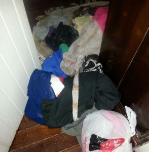 Part of the ransacked house.