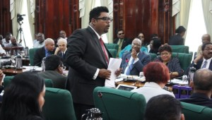 PPP MP, Irfaan Ali during his budget presentation.