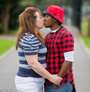 In love? Angharad Lovering, 38, married Jamaican toyboy Loric Bullock, 19, after a six month affair via Skype