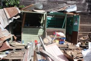 Demolished stalls at Bourda