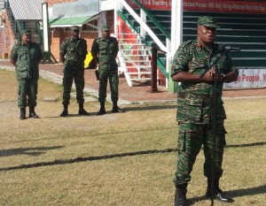 Brigadier Mark Phillips addressing the troops. [iNews' Photo[